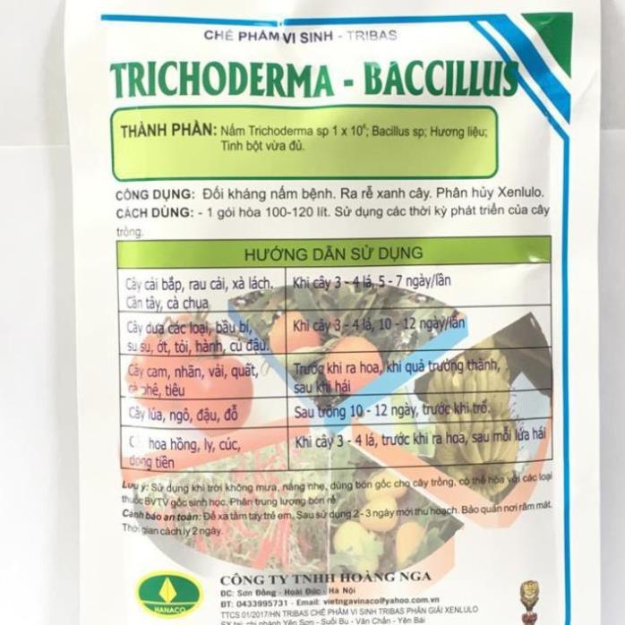 Phân hữu cơ vi sinh Trichoderma Bacilius gói 50g. Chuyên xử lý phế thải, chất hữu cơ và nấm đối kháng.