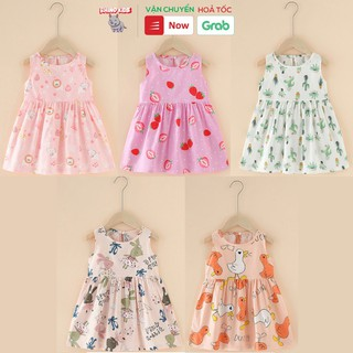 Đầm váy bé gái mùa hè chất liệu cotton in hình đáng yêu dễ thương phong cách Hàn Quốc