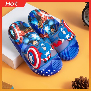 [𝐇𝐎𝐓] Dép Quai Ngang Cao Su Nhỡ Trẻ Em Hình Captain America ,Full Size 27-30