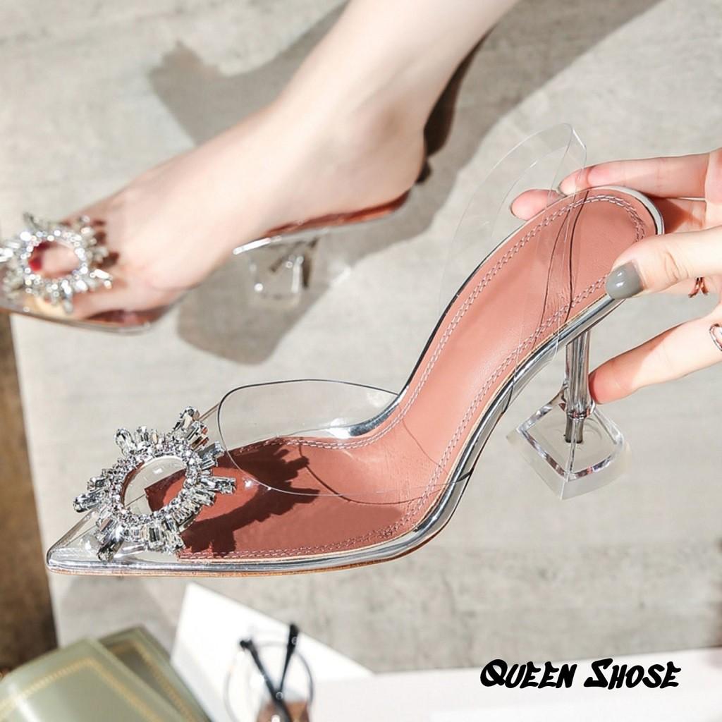 giày cao gót nữ 7 phân mũi nhọn Mika trong suốt đính nơ hoa hoa mặt trời