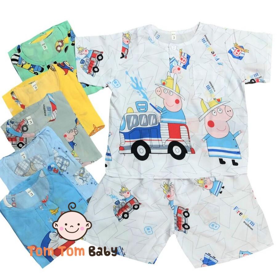 Bộ quần áo CỘC TAY bé trai mùa hè vải tole, lanh mềm mịn mát