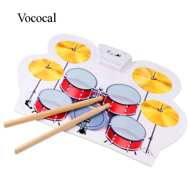 Vococal USB MIDI Drum Kit PC Desktop Roll up Electronic Drum Pad Portable with Drumsticks for Kid Gift