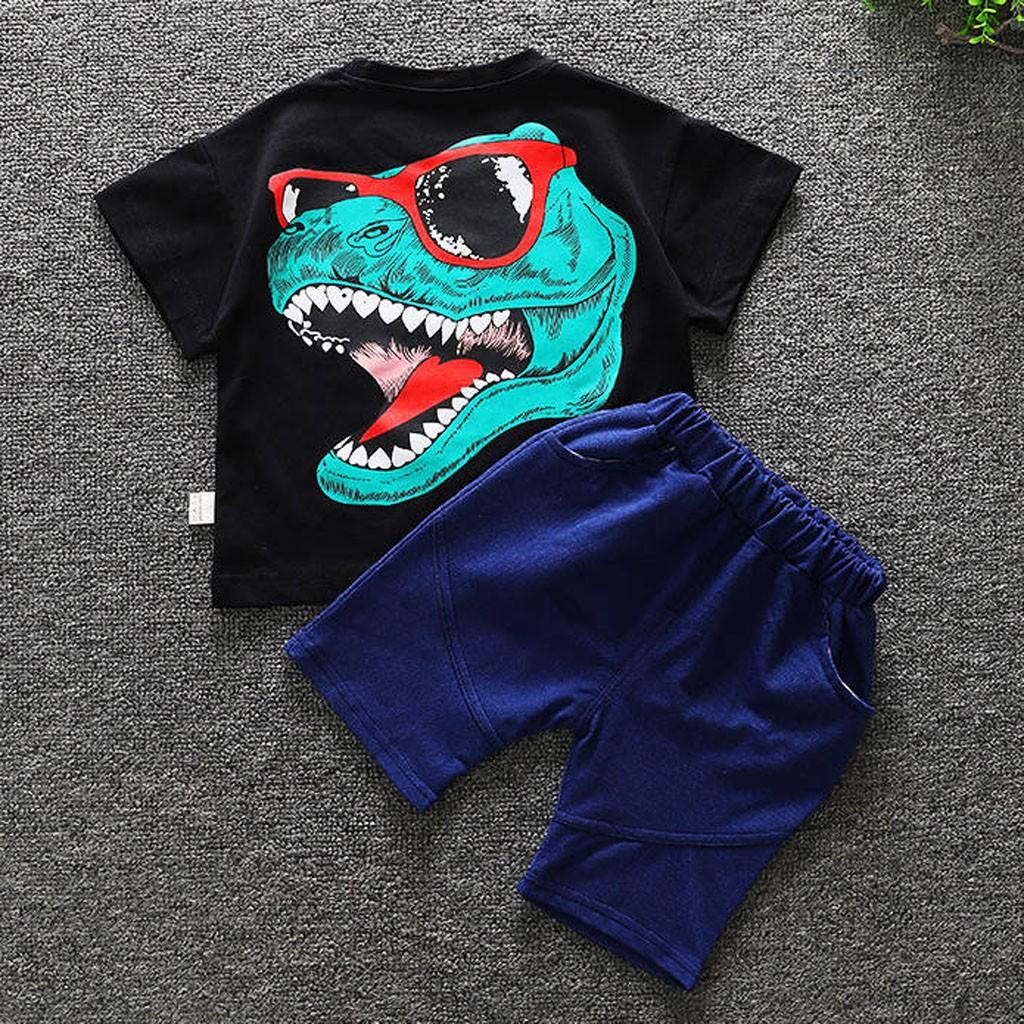 Children Toddler Kids Baby Boy Girl Cartoon Tops T-shirt Shorts Outfits Set