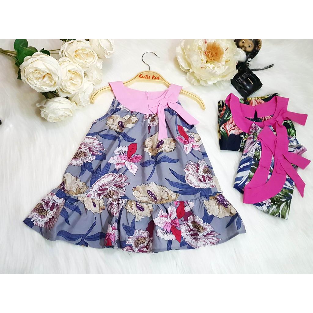 [150K FREESHIP] Váy thô hoa in hình cổ nơ cho bé gái từ 8kg - 20kg