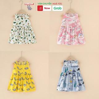Váy đầm bé gái mùa hè chất liệu kate in hình cute dễ thương phong cách Hàn Quốc