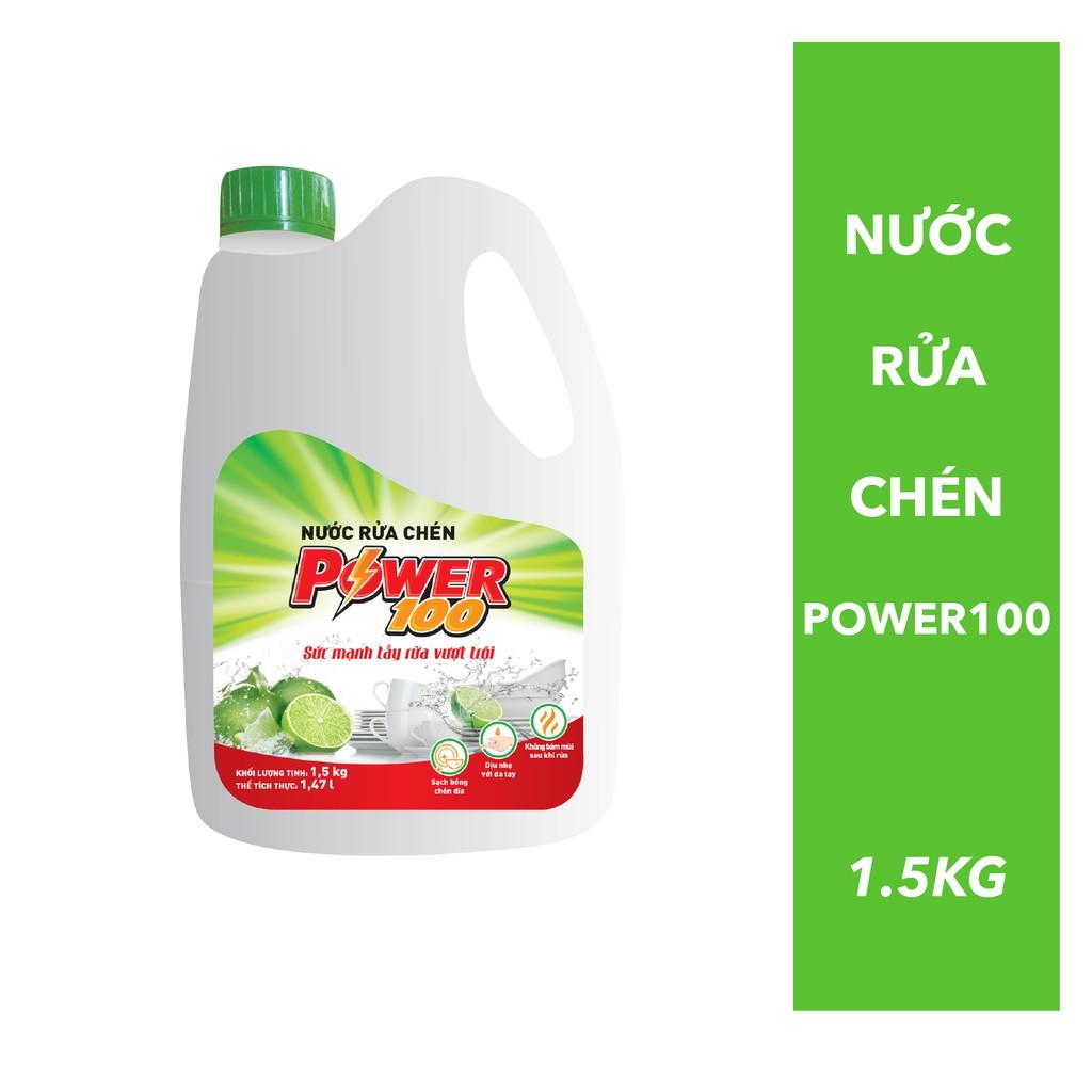 Nước rửa chén Power100 Hương Chanh- sức mạnh tẩy rửa vượt trội (Chai 1.5 kg)