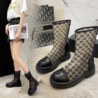 2021 spot fashion boots transparent boots Korean versatile foreign style leisure ins back zipper transparent women's shoes women's Boots