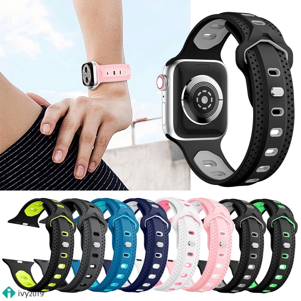 ♞【For Apple Watch】 Y-Shaped Goose Egg Buckle Two-Color SiliconeStrap 42mm Watch Strap