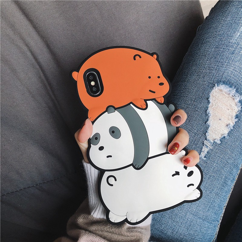 Ốp điện thoại hình 3 chú gấu 3D dễ thương trong We Bare Bears dành cho iPhone 6/6S 6+/6S+ 7/7+ 8/8+ X/XS/XSMax/XR