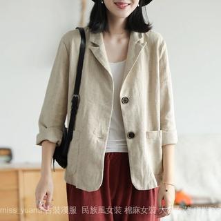 Áo khoác Cotton cổ vest thời trang xuân thu cho nữ