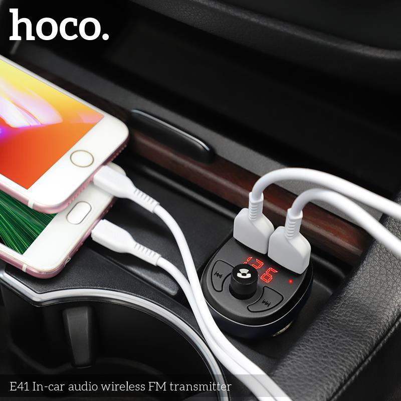 Tẩu sạc 2 cổng USB ĐA CHỨC NĂNG, kiêm phát nhạc trên ô tô - Hoco E41