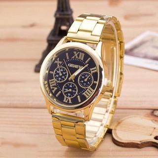 Đồng hồ thời trang nam nữ geneva kim loại vàng GE28