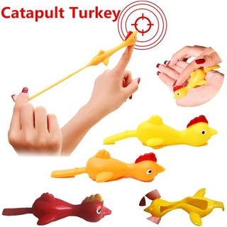 Sticky Flying Rubber Chicken Stretchy Catapult Turkey Finger Funny Toy thumbnail
