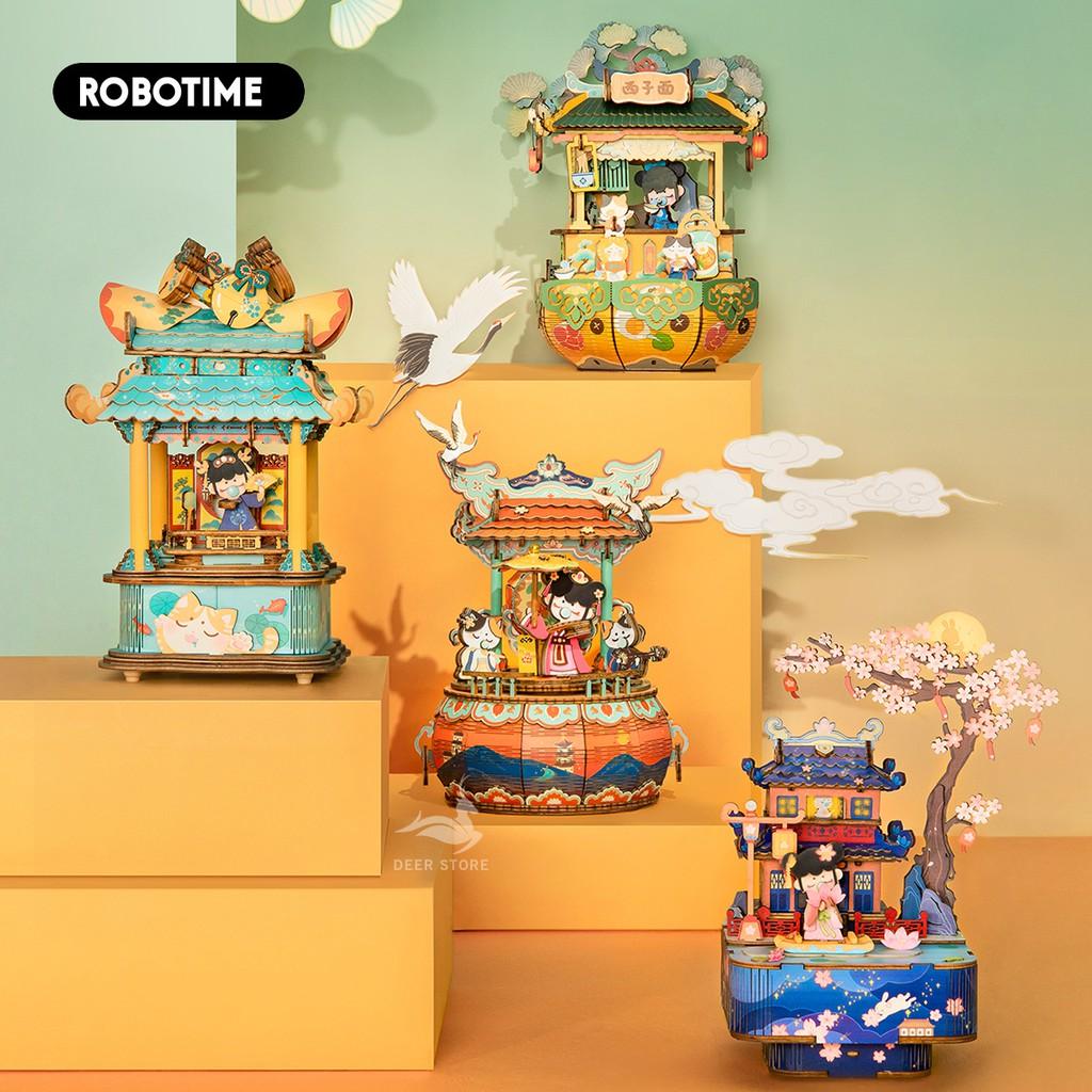 Mô hình Hộp nhạc Robotime Music Box AMU01-AMU04. Đồ chơi lắp ráp bằng gỗ 3D.