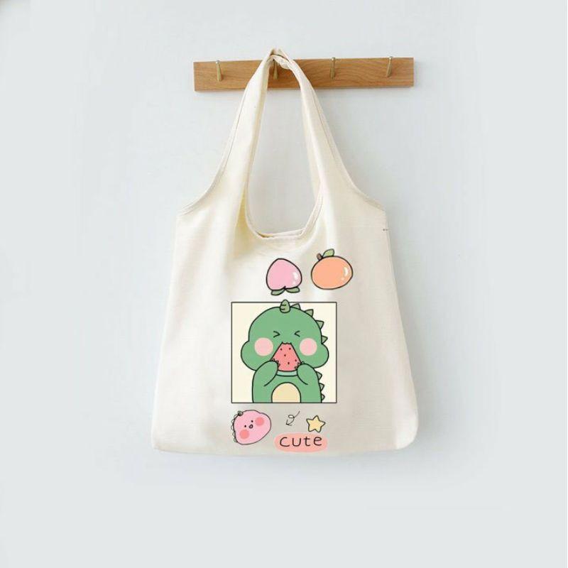 Túi đeo vai đi làm, đi học đẹp giá rẻ, form to, 2 lớp, vải canvas - KHỦNG LONG CUTE