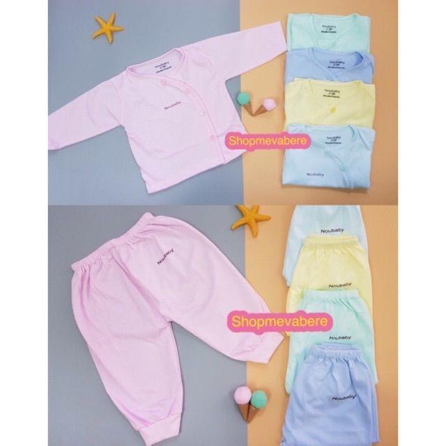 Bộ dài tay thu đông cotton cúc lệch cho bé sơ sinh, hàng đẹp nhiều màu