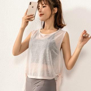 Áo tanktop tập gym yoga chất liệu vải lưới mỏng co giãn thoáng mát thoải mái cho nữ