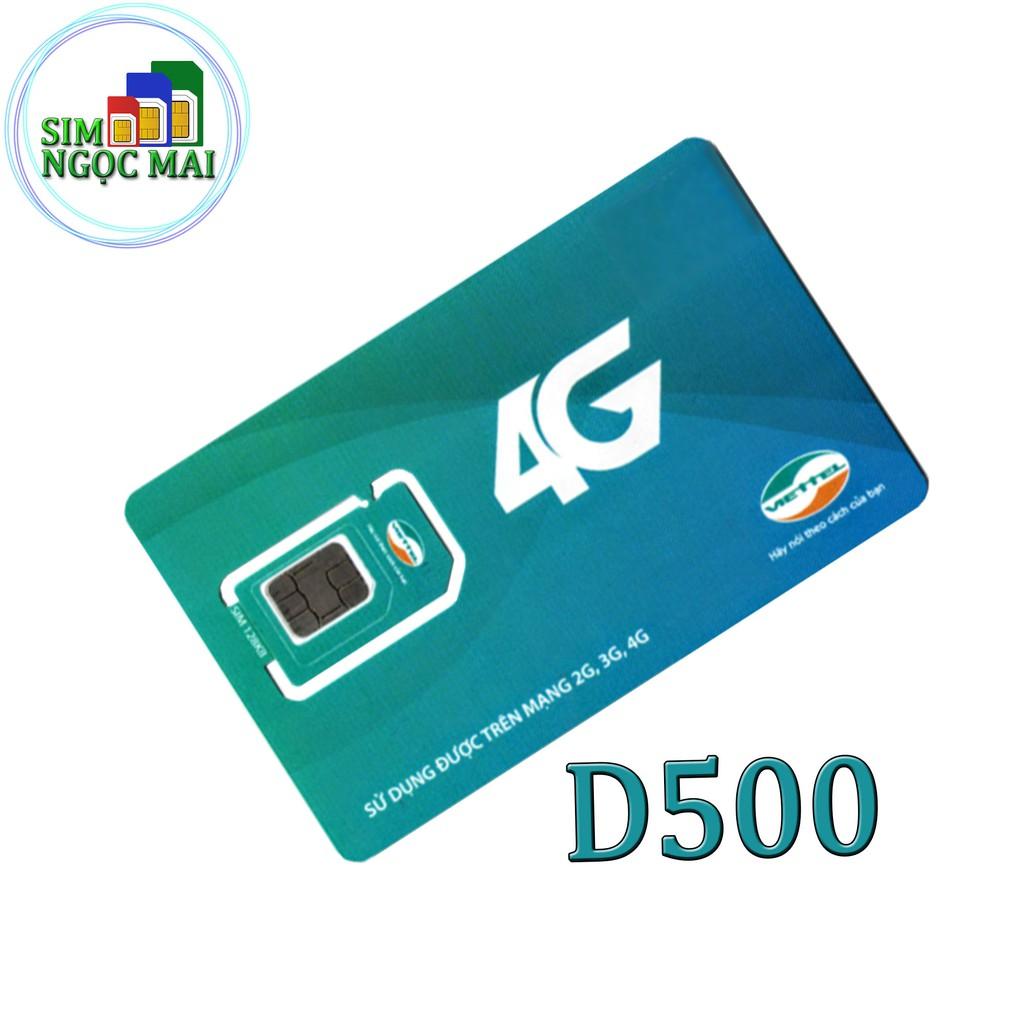[FREESHIP 50K]Sim 4G Viettel D500 4Gb/tháng Trọn Gói 1 Năm Không Nạp Tiền