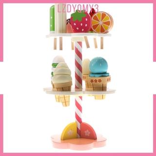 hausgarden Kids Preschool Simulation 3-layer Ice Cream Candy Sticks Stand Wooden Toys