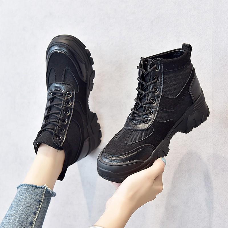 【จัดส่งฟรี】งหญิงอังกฤษลมระบายอากาศ 2019 นักเรียนใหม่ป่าหนาผ้าใบรองเท้าขับรถสูงน้ำ