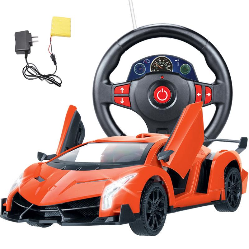 Remote control car toy steering wheel rechargeable car