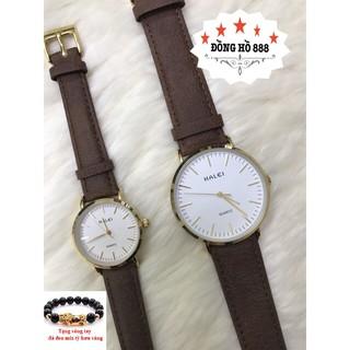 Đồng hồ đôi nam nữ HALEI cặp đôi dây da dây nâu mặt trắng