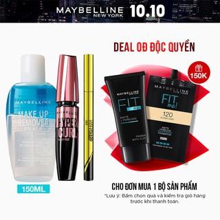 [Bộ trang điểm] Bút kẻ mắt Hyper Sharp 0.5 + Mascara Hyper Curl 0.2ml + Tẩy trang mắt môi 150ml Maybelline New York