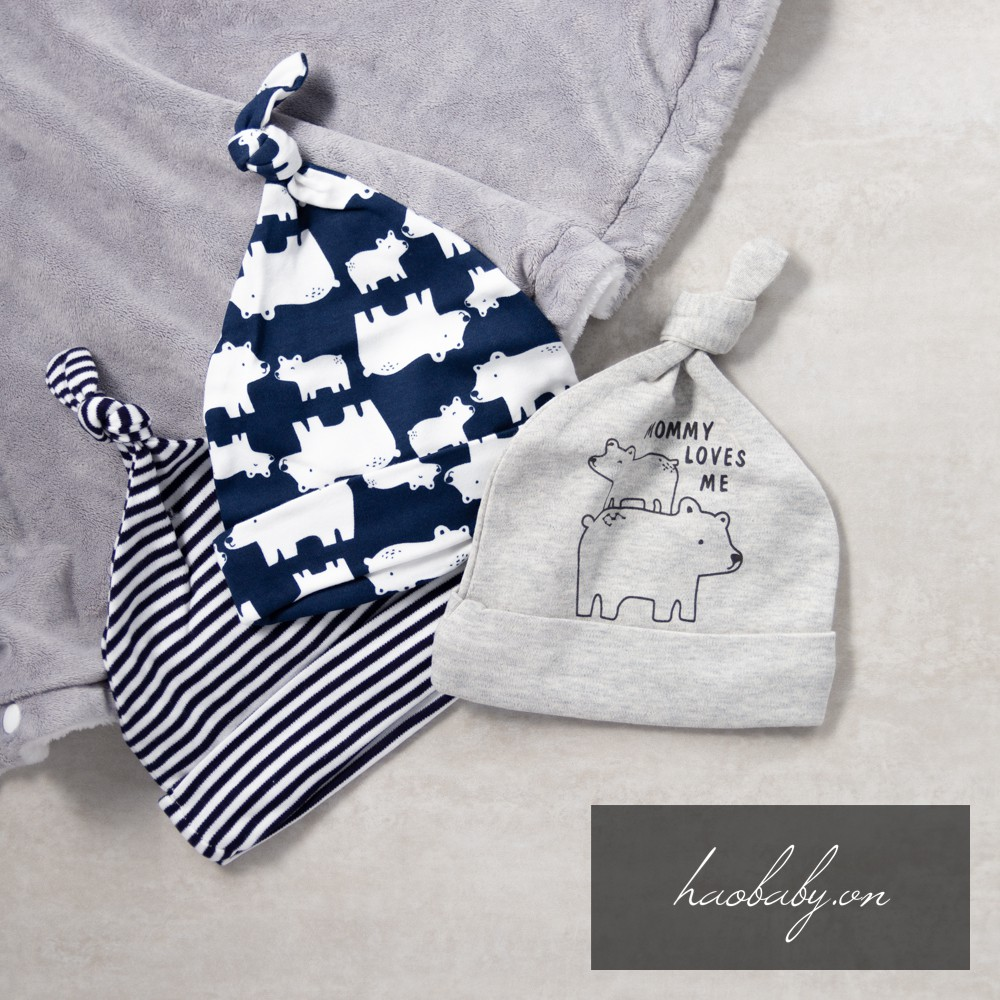 Set 3 nón sơ sinh Momcare, mũ thóp cho em bé, bé trai, bé gái bằng vải cotton