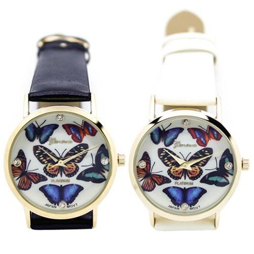 Đồng hồ Geneva dây giả da in hình bướm 3D cho nữ