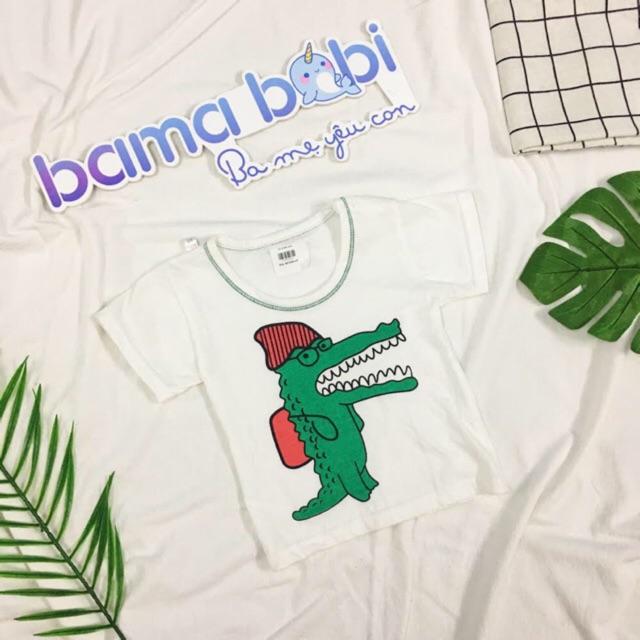 Áo phông bé trai bé gái hoạ tiết cá sấu và thỏ