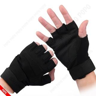 Găng tay vải thể thao BLACK HAWK Đen nửa ngón đi phượt, tập GYM đa năng chống trơn trượt, thoáng khí LEPIN