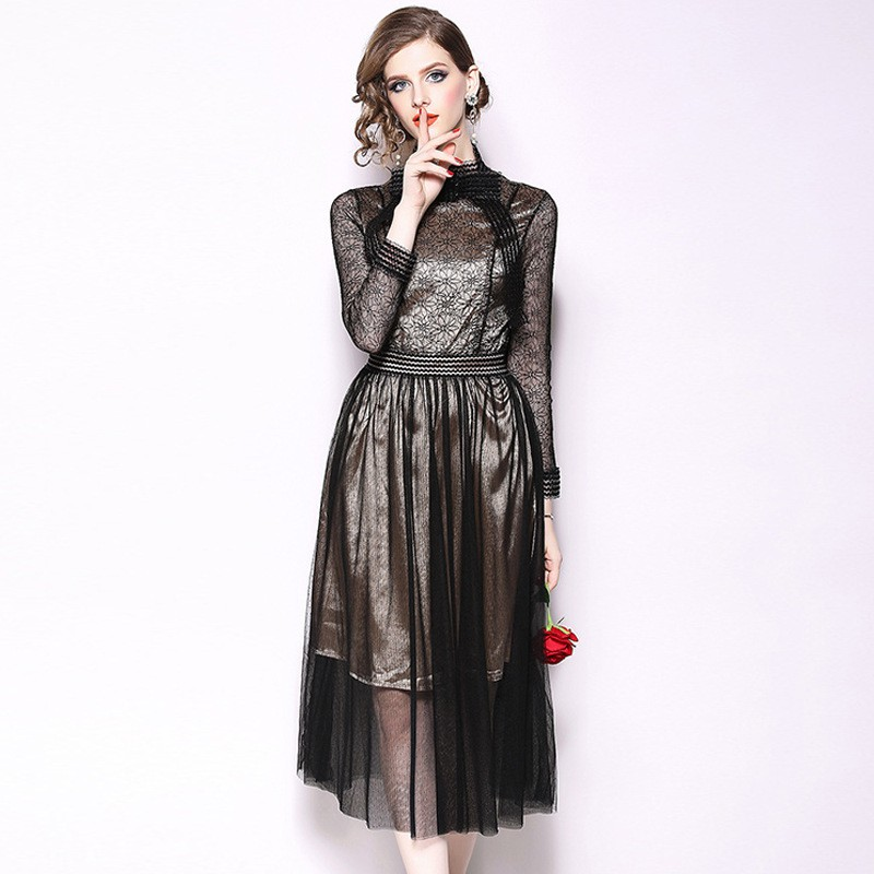 2018 hot sale European standing collar nine points sleeve mesh waist dress autumn and winter women's clothing