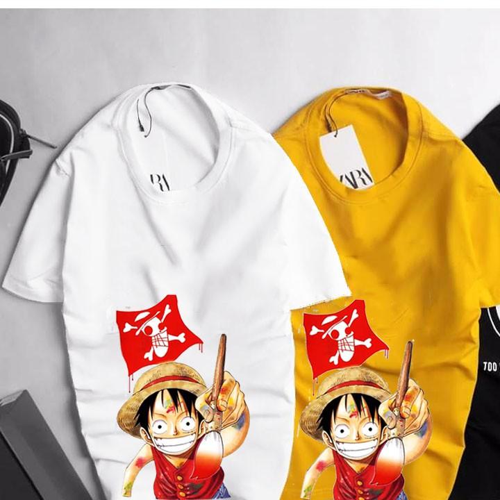 BTS Luffy thun Cotton áo thun nam , áo phông nam - nữ Tay ngắn cổ tròn