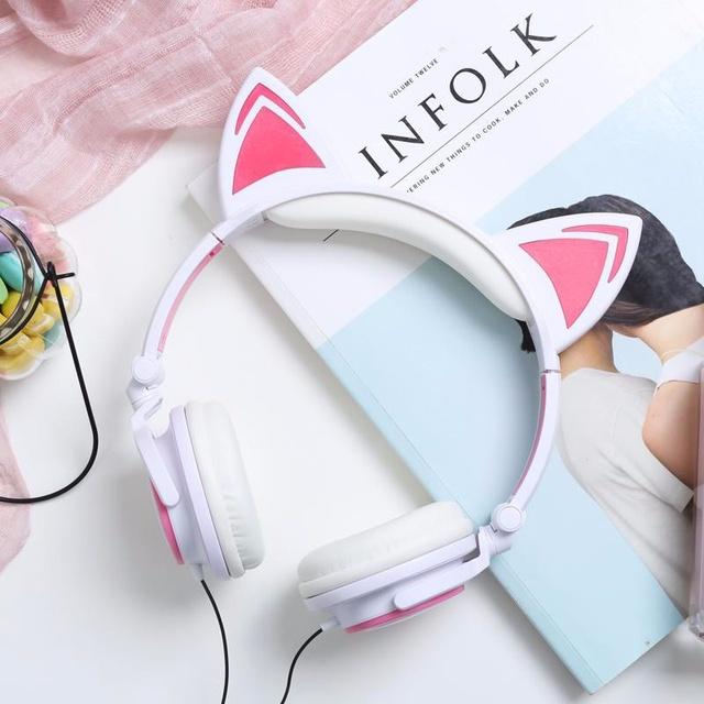 Tai Nghe Headphone Tai Mèo - TTLIFE Xinh Xắn - Có Đèn Led Siêu Cute