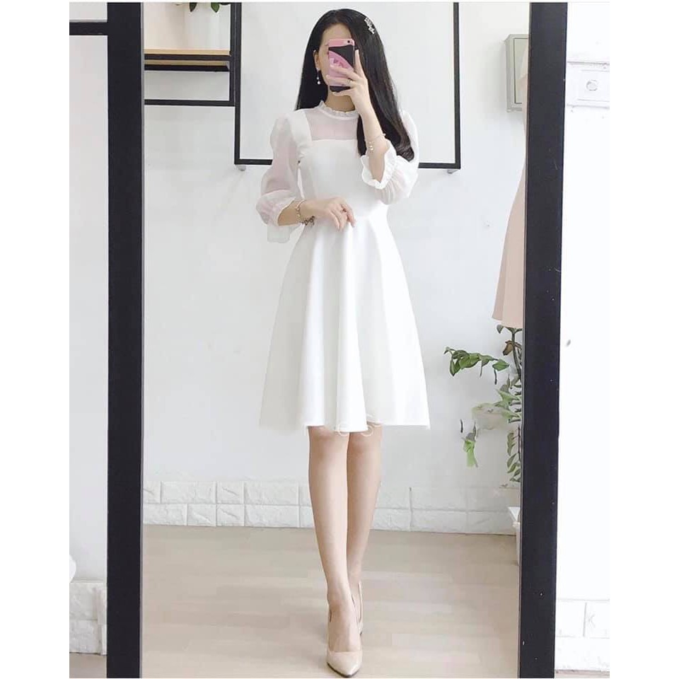 [Mã WASEPRN hoàn 20% xu đơn 99k] Đầm trắng voan xòe dịu dàng nữ tính