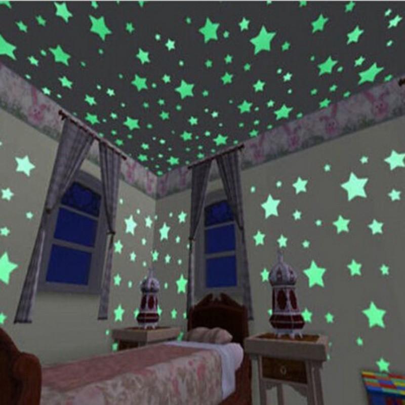 100 miếng dán dạ quang phát sáng vào ban đêm trang trí phòng cho em bé