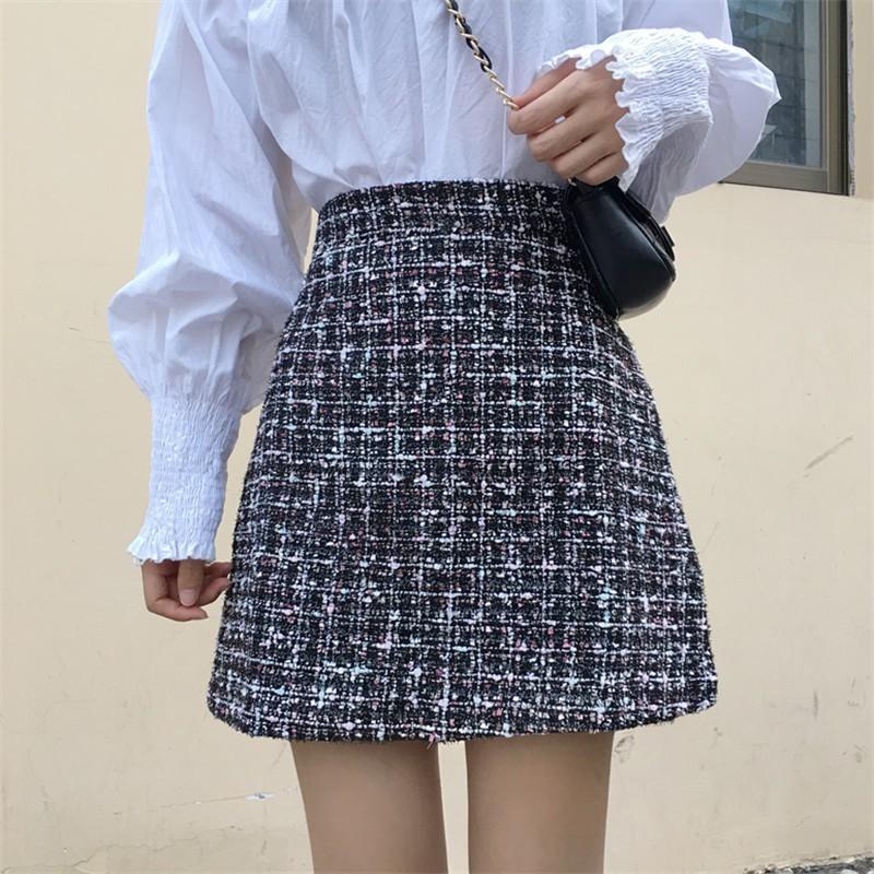 Chân váy dạ tweed 2 màu - chân váy kim tuyến 2