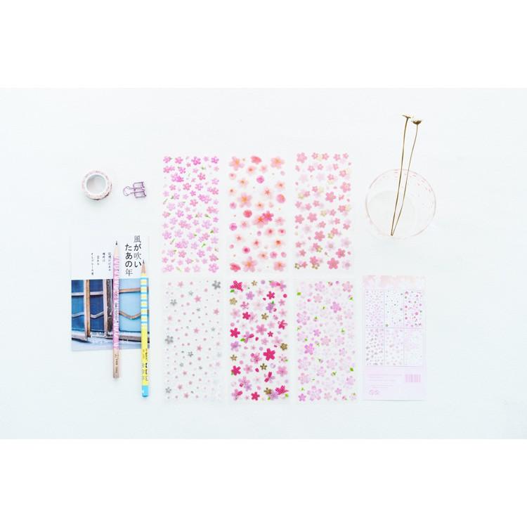 Set 6 tấm sticker hoa đào trang trí sổ planner