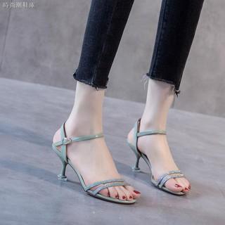Giày sandal cao gót 3cm đính đá thời trang sành điệu cho nữ 2021