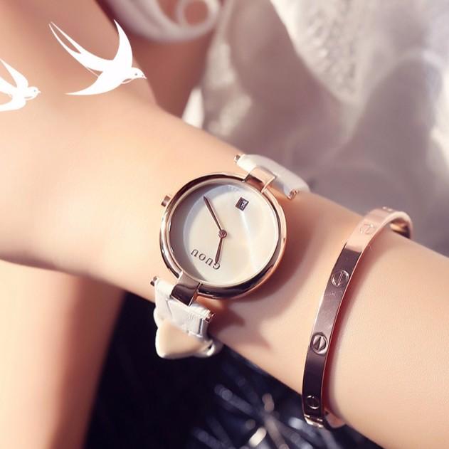 Đồng hồ nữ mặt tròn dây da cao cấp GUOU G7689922