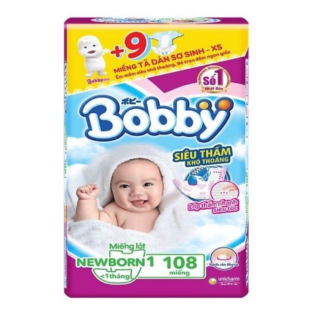 Miếng lót sơ sinh Bobby Newborn 1 108 miếng + 9 tã dán XS