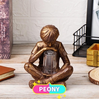 PEONY LED Light Boy with Fireflies Holiday Ornament Sculpture with Light Resin Garden Boy Vintage Artistic Statue Gifts Festival Decoration Garden Lights Statue Glimpses of God