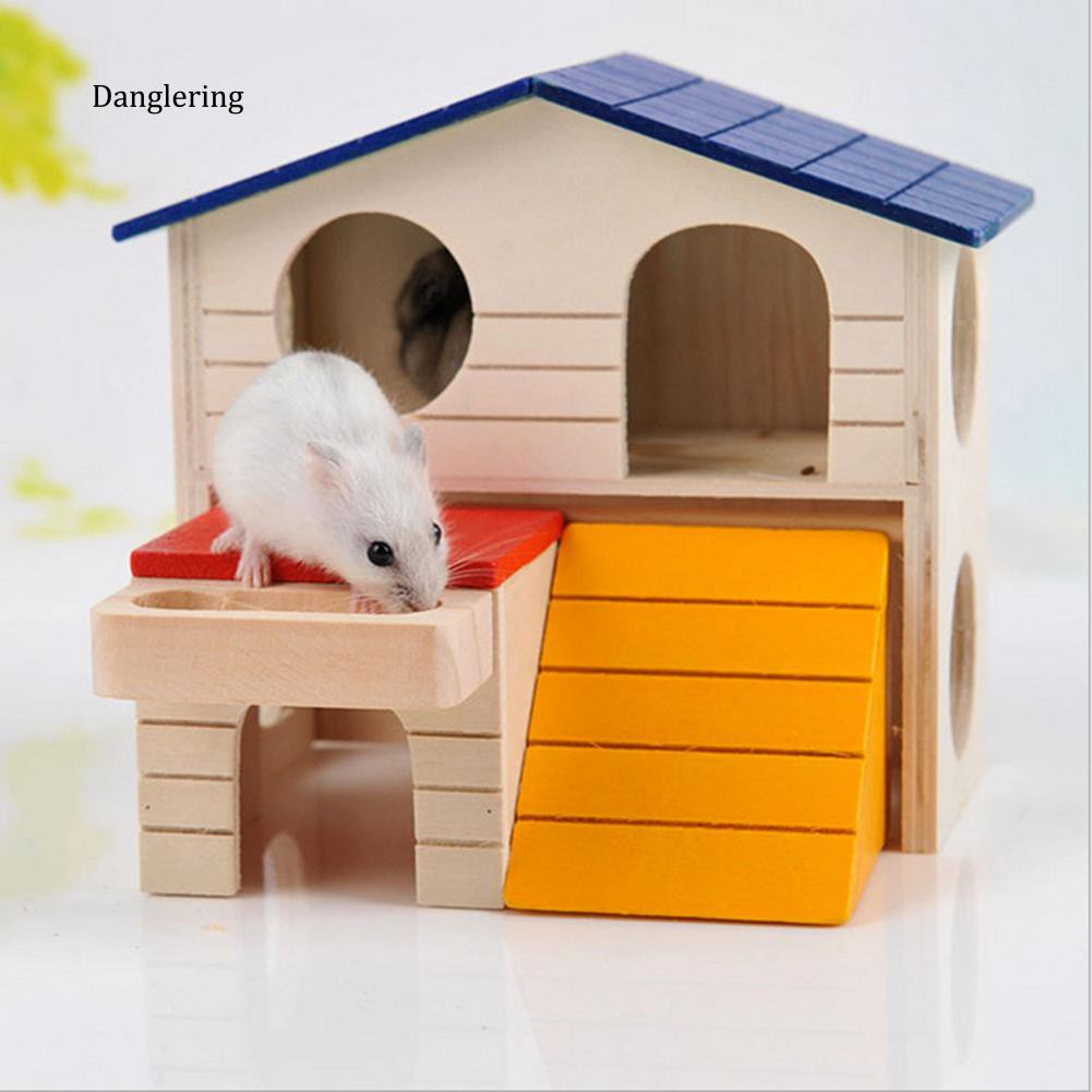 【DGLG】Double Layer Hamster Mice Squirrel Hidden Play Villa Wooden House Small Pet Nest