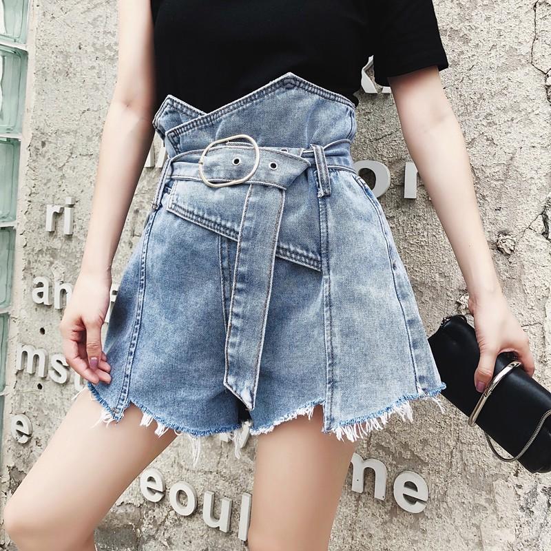 quần short denim lưng cao size s-5xl