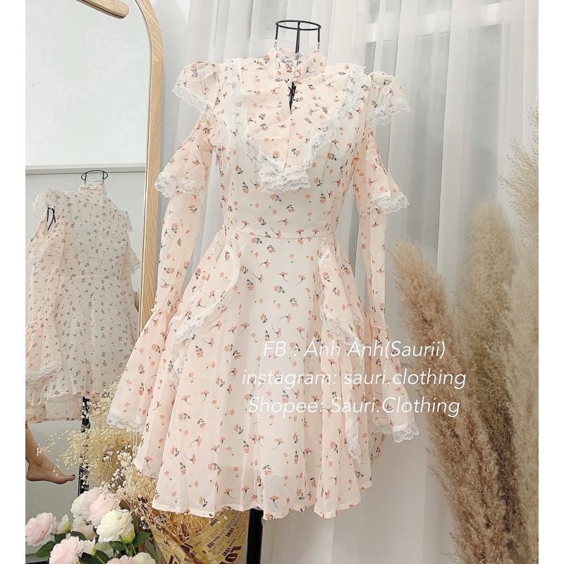 Mặc gì đẹp: Tung bay với SẴN🖤Đầm công chúa voan hoa nhí xoè ulzzang retro vintage|Váy bánh bèo khoét vai cổ trụ pha ren Đầm dễ thương cho nữ