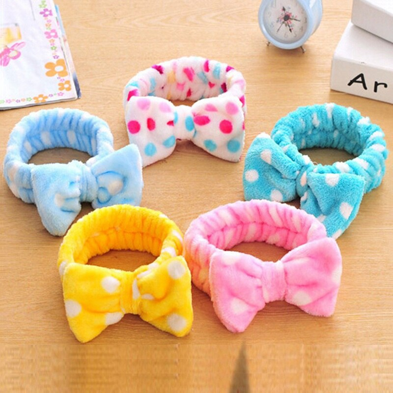 Women Coral Fleece Bow Hair Band Solid Color Wash Face Makeup Soft Headbands Girls Turban Head Wraps Party Decora