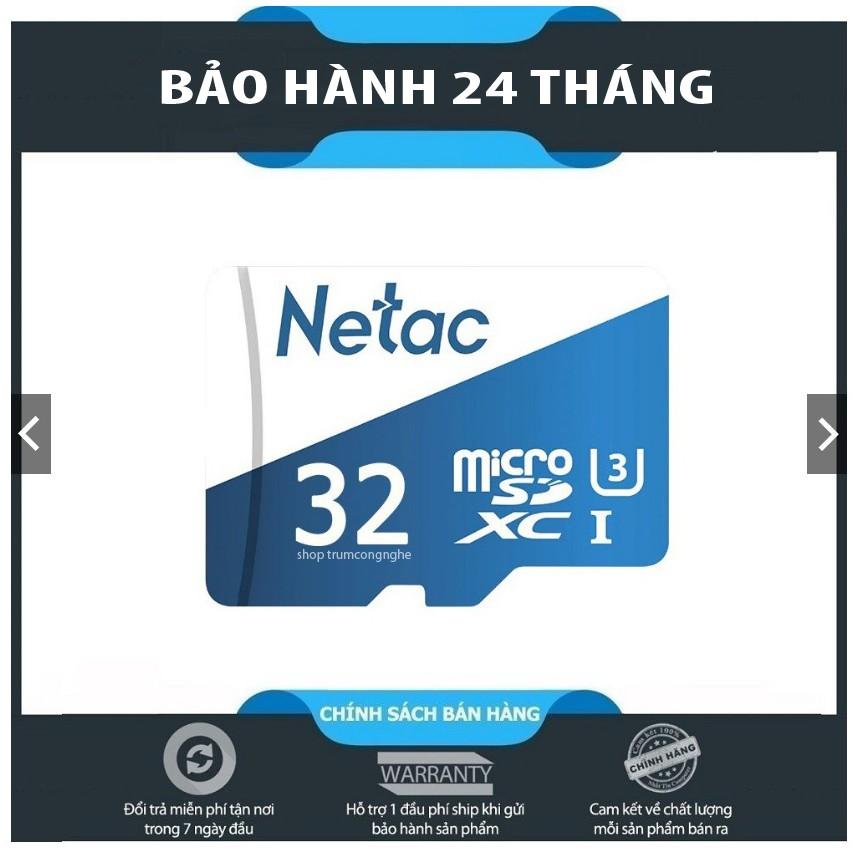 Thẻ nhớ microSDHC Netac 32GB U3 - Tốc độ cao (Trắng xanh) - Chuyên camera và điện thoại