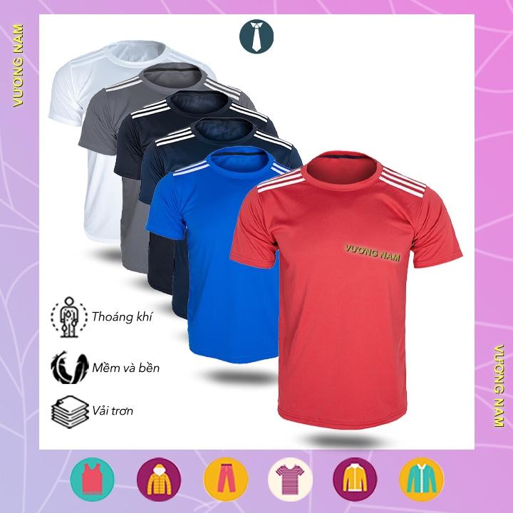 Áo thun nam ngắn tay cổ tròn thể thao trơn đẹp vải xuất dư nhiều loại VN23A
