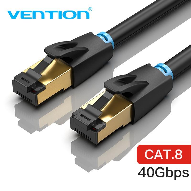 Dây cáp mạng VENTION 2000Mhz CAT 8 truyền tốc độ cao SSTP 40Gbps màu đen