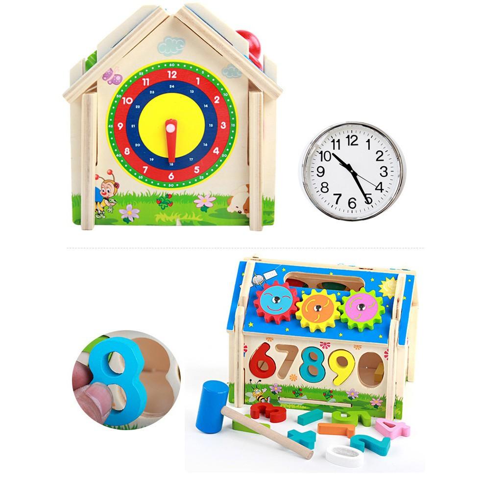 ToyStory] Đồ Chơi Nhà Gỗ Thông Minh - Thả Hình Số Đập Bóng Đa Năng Trẻ Em Bánh  Răng Đồng Hồ - Giáo Cụ Montessori Cho Bé, giá chỉ 195,000đ! Mua ngay